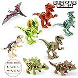 BeebeeRun Edificio di Dinosauro Giocattoli Set di Blocchi,8pcs Mini Dinosauri Figure Giocattoli,Giocattolo Regalo per Bambini