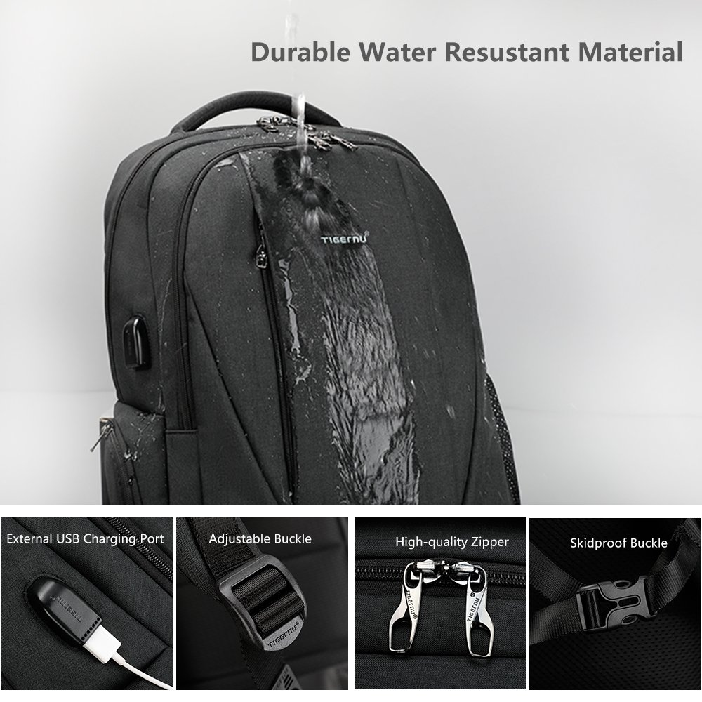 89d82f4c8742 Amazon.com  Tigernu Slim Business Laptop Backpack Anti Thief Water  Resistant with USB Charging Port College School Backpaks Fit 15.6 Inch  MacBook Computer ...