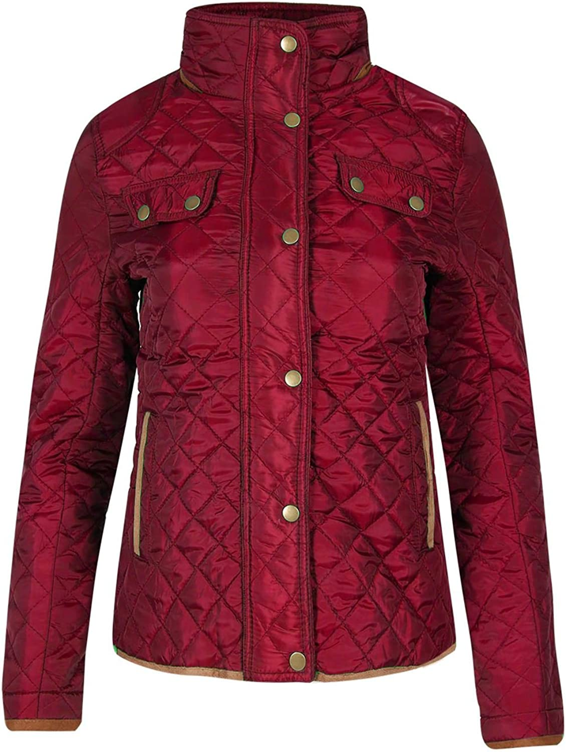Be Jealous Womens Ladies Quilted Button Thick Warm Winter Elbow Patches Funnel Neck Jacket UK Plus Size 10-28