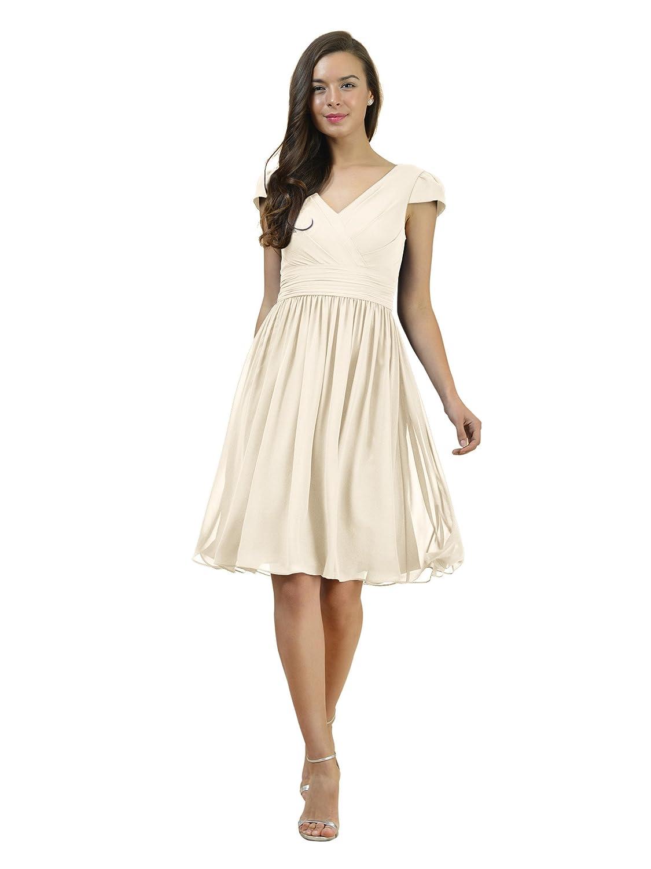 Alicepub V-Neck Chiffon Bridesmaid Dress Short Bridal Party Evening Dress Cap Sleeve