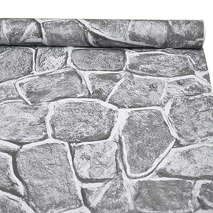 3d Stone Wallpaper H2mtool Removable Self Adhesive Rock Wallpaper Gray 17 7 X 78 7 Grey