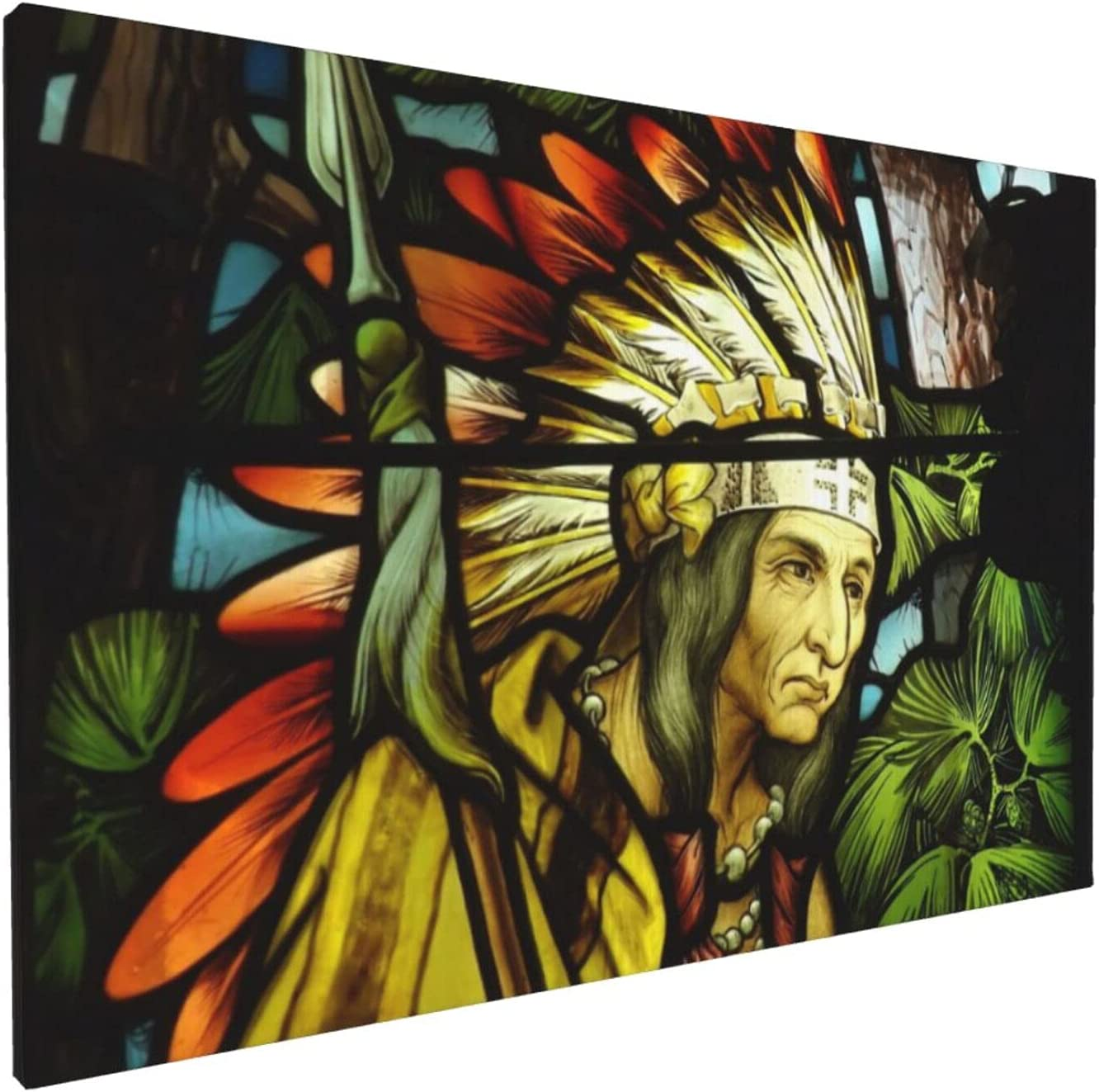 Wall Art Canvas Painting, Stained Glass Art Native American Indian Modern Decorative Framed Artwork For Home Decor Ready To Hang 18x12 In