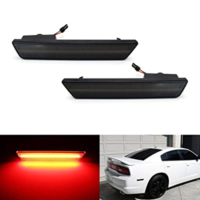 iJDMTOY 75-090-Smoked-Red Smoked Lens Red Full Rear Side Marker Light Kit for Dodge 2008-14 Challenger & 2011-14 Charger, Powered by 36 LED Diodes, Replace OEM Back Sidemarker Lamps: Automotive