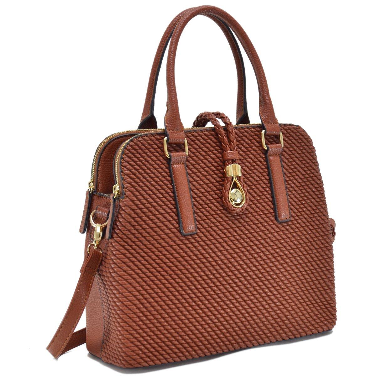 MKP Collection Weaved Design Satchel~Fashion Women Handbag~Boutique Women's Designer Handbag ~Beautiful Designer Shoulder handbag~Classic Shoulder Handbag(6642) Cognac