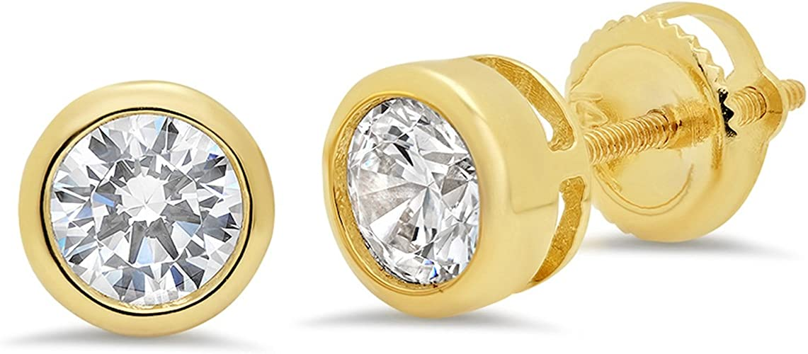 3ct Round Brilliant Cut Stud Everyday Earrings Solid 14k Yellow Gold Push Back