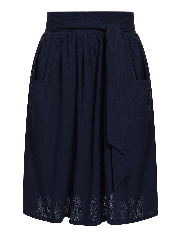 Zeagoo Women's Tie Street Midi Plus Size Pockets Cotton A Line Skirts ETH006536