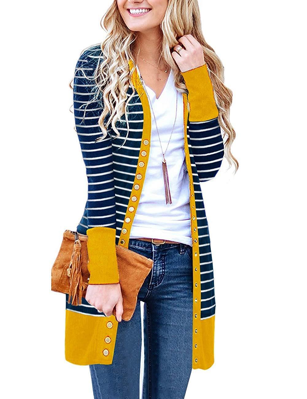 Basic Faith Women's S-3XL V-Neck Button Down Knitwear Long Sleeve Soft Knit Casual Cardigan Sweater Stripe Mustard L