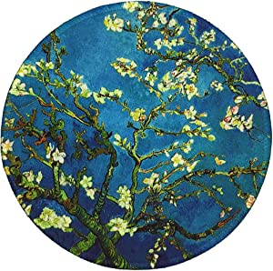 BOSOBO Mouse Pad, Round Blossoming Almond Tree Mouse Mat, Cute Mousepad with Design, Small Non-Slip Rubber Gaming Mouse Pad with Stitched Edges, Office Mouse Pad for Girls and Women, 7.9 x 7.9 Inch