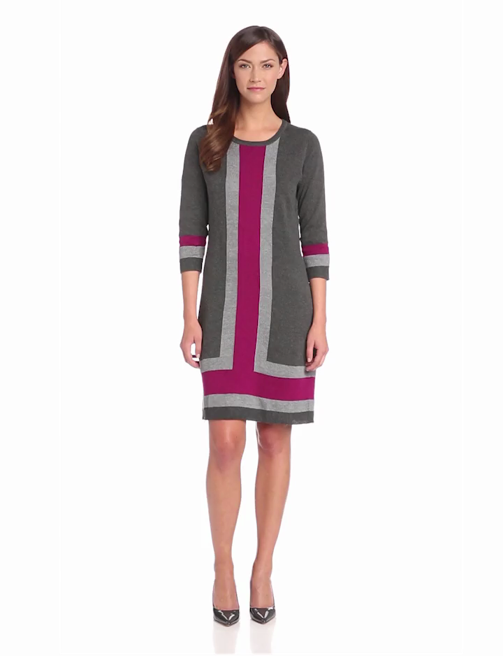 NY Collection Womens 3/4 Sleeve Crew Neck Colorblock Dress, McKayla, Large