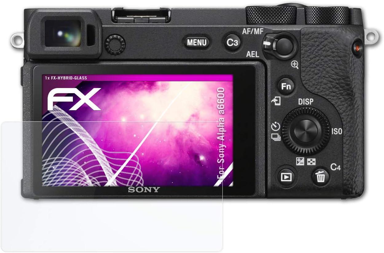 9H Hybrid-Glass FX Protection /Écran en Verre tremp/é de Plastique atFoliX Protection /Écran Film de Verre en Plastique Compatible avec Sony Alpha a6600 Verre Film Protecteur