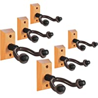 Guitar Wall Mount Hanger 6-Pack, Hardwood Guitar Hanger Wall Hook Holder Stand Display with Screws - Easy To Install - Fits All Size Guitars, Bass, Mandolin, Banjo, Ukulele
