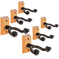 Guitar Wall Mount Hanger 6 Pack, Hardwood Guitar Hanger Wall Hook Holder Stand