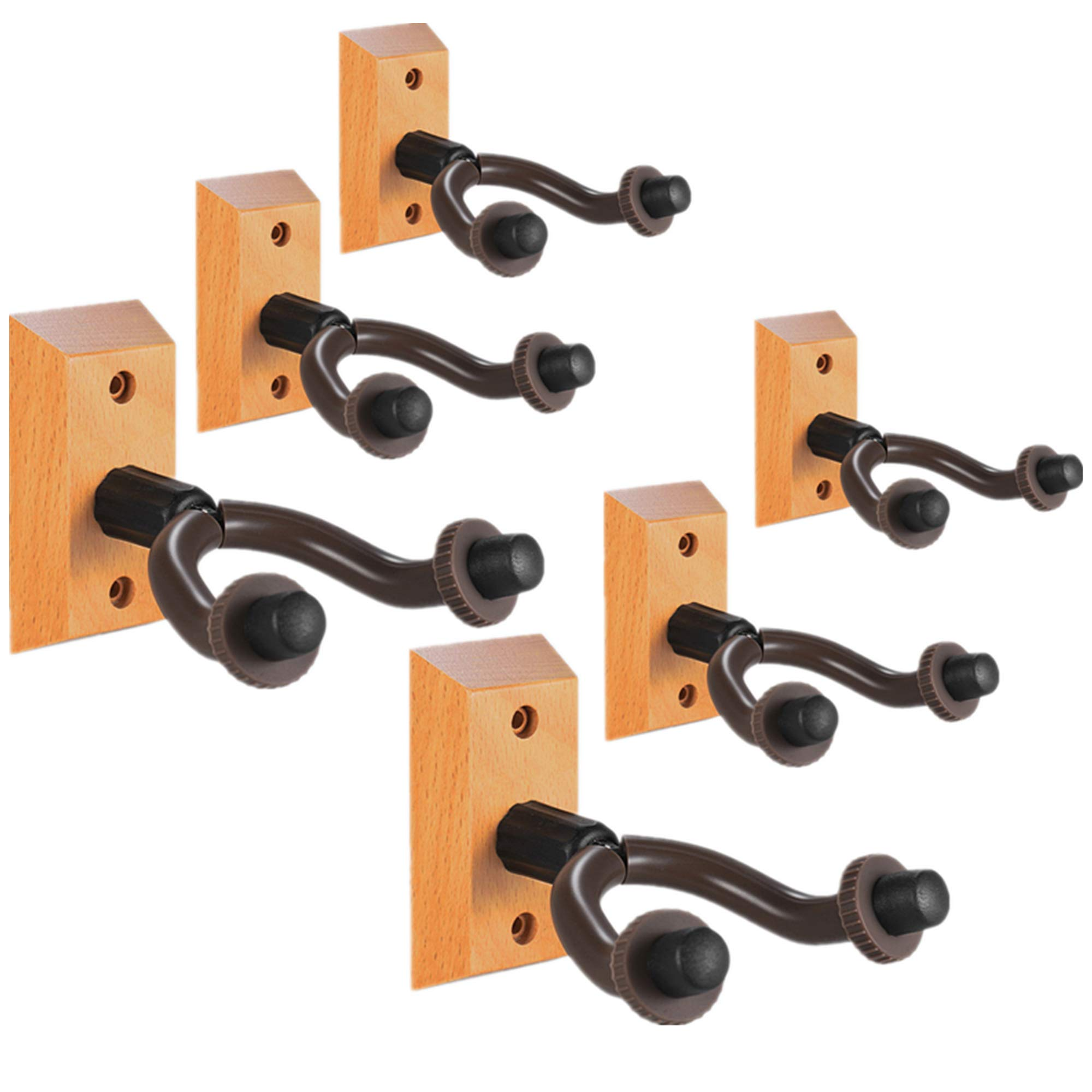 Guitar Wall Mount Hanger 6 Pack, Hardwood Guitar Hanger Wall Hook Holder Stand Display with Screws - Easy To Install - Fits All Size Guitars, Bass, Mandolin, Banjo, Ukulele