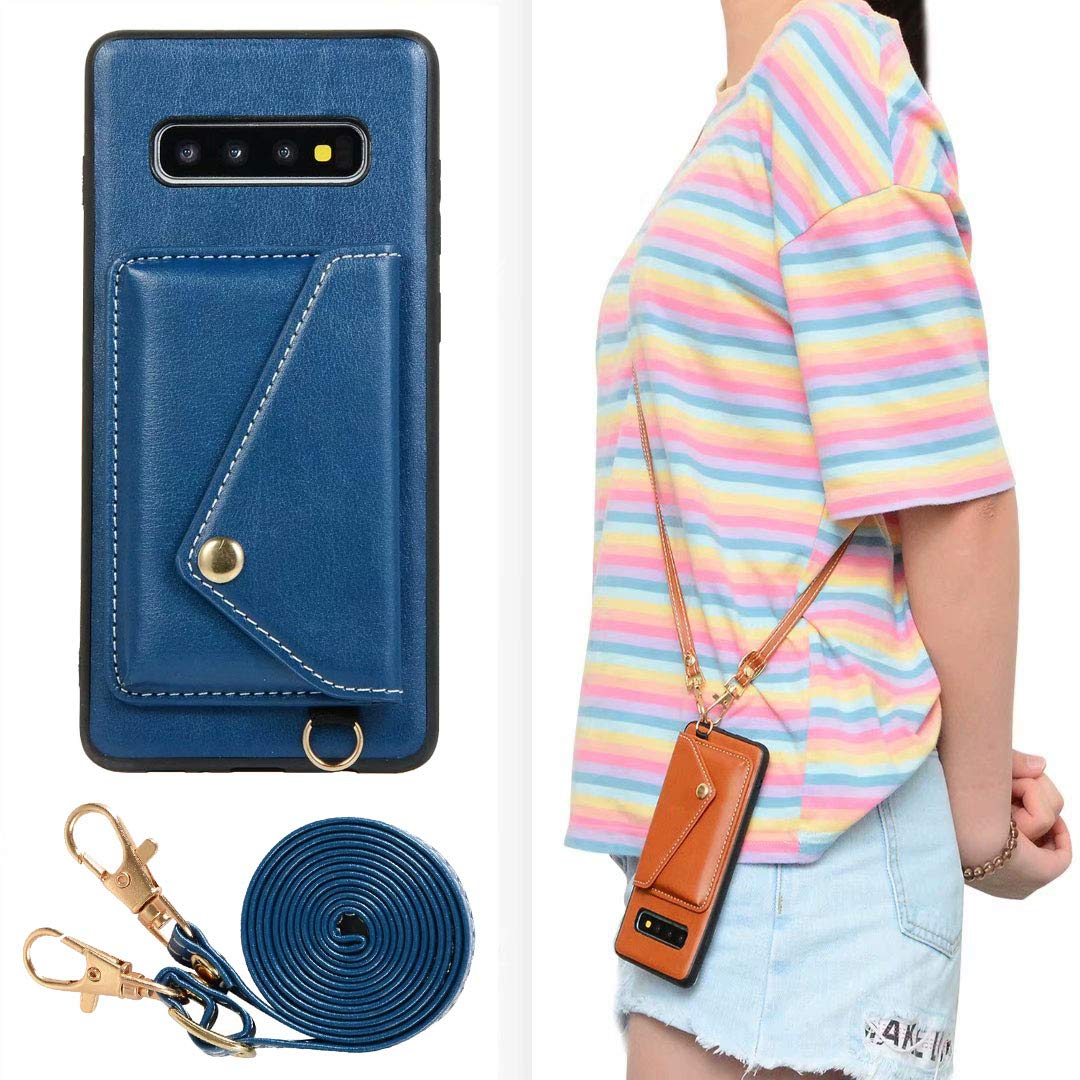 Galaxy S10 Case, Ranyi Protective Leather Wallet Case with Crossbody Shoulder Belt Credit Card Holder Slot Premium PU Leather Wallet Purse Case Cover for Samsung Galaxy S10 6.1'' (2019), Blue by Ranyi