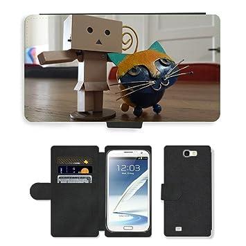 Just carcasa caliente estilo ranura de tarjeta de teléfono celular Funda de piel sintética//m00138430 Pussy Stick Man Punto Pet Danbo//Samsung Galaxy Note 2 ...