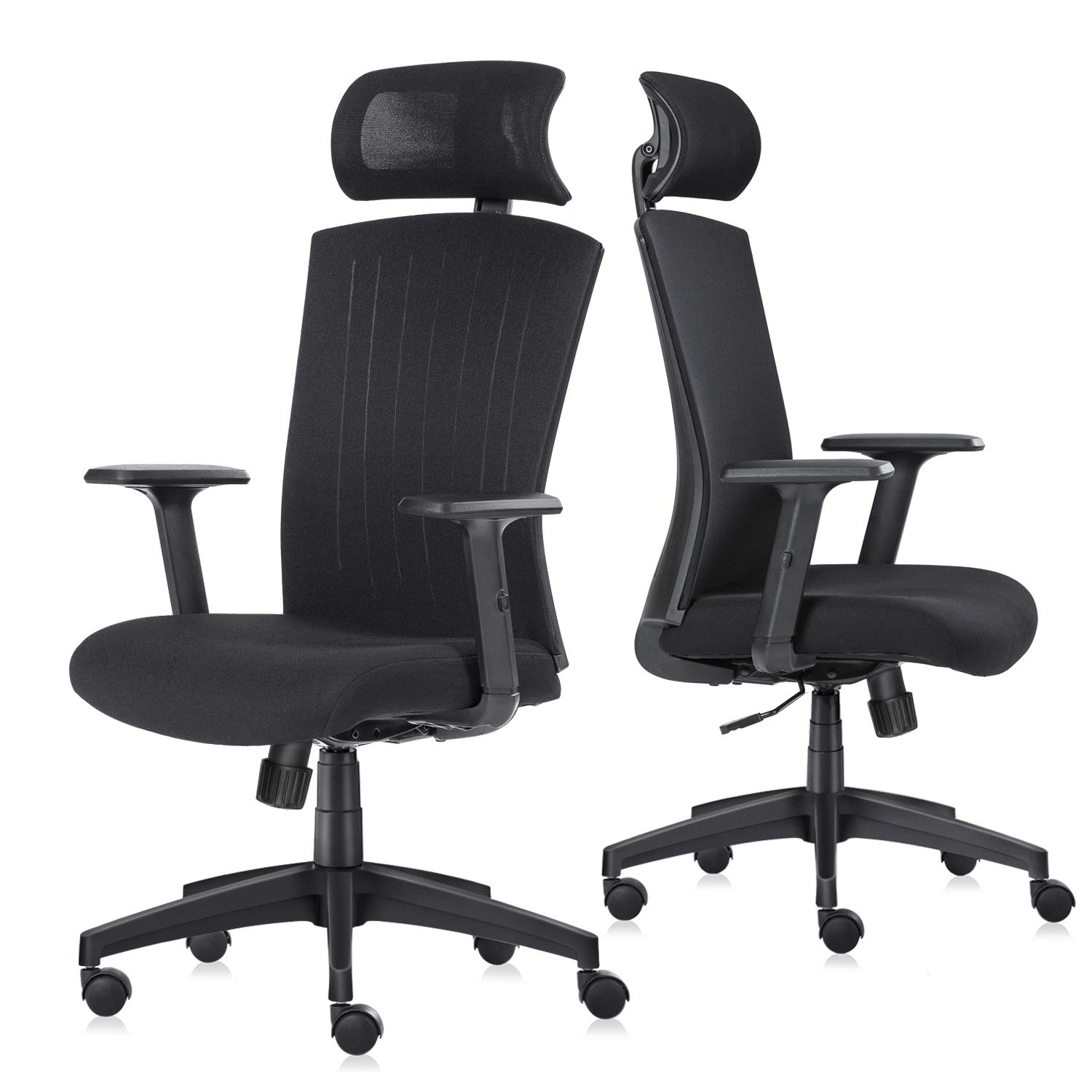 Ergonomic Office Chair, High-Back Mesh Computer Desk Chairs, Flexible Swivel Task Chair with Adjustable Height and Lift Armrest, Turnable Headrest and Soft Sponge Cushion