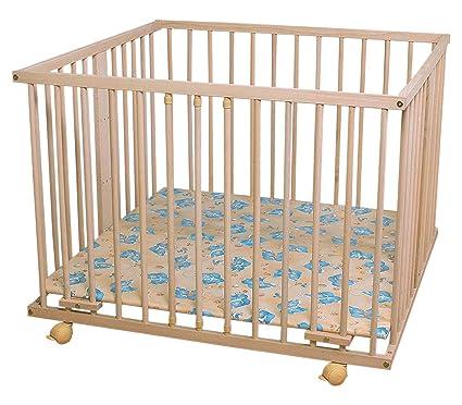 WALDIN-Parque de juegos infantil para bebé - Haya maciza natural sin tratamientos - aprox. 100 x 100 cm