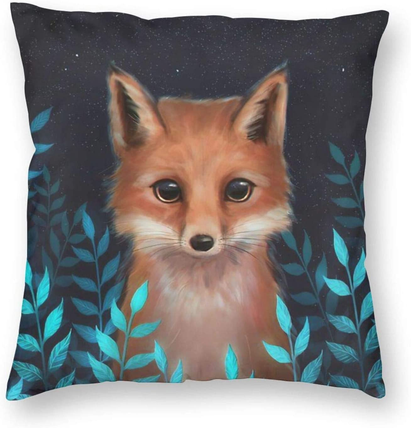 MINIOZE Autumn Cute Animal Blue Fox Leaves Fall Print Plush Soft Square Pillow Covers Home Decor Cushion Covers Decorations Gifts Pillowcase for Indoor Sofa Bedroom Car 18 x 18 Inch