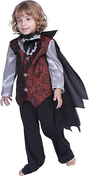 MOMBEBE COSLAND Disfraz de Vampiro Drácula para Niños Camisa con Chorrera Capa: Amazon.es: Ropa y accesorios