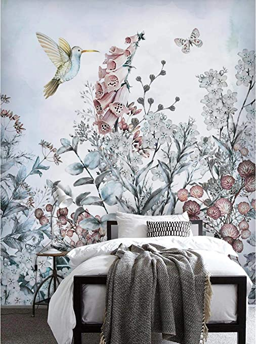 Amazon Com Custom 3d Wallpaper Photo Mural Wall Tropical Plant Flower Bird Butterfly Living Room Tv Background Wall Murals Decorative Wallpapers Home Decor 200x140cm Lxh L Kitchen Dining