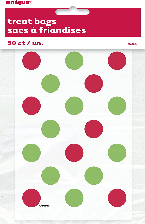 El rojo y el verde de navidad del lunar Treat Bags, paquete de 50