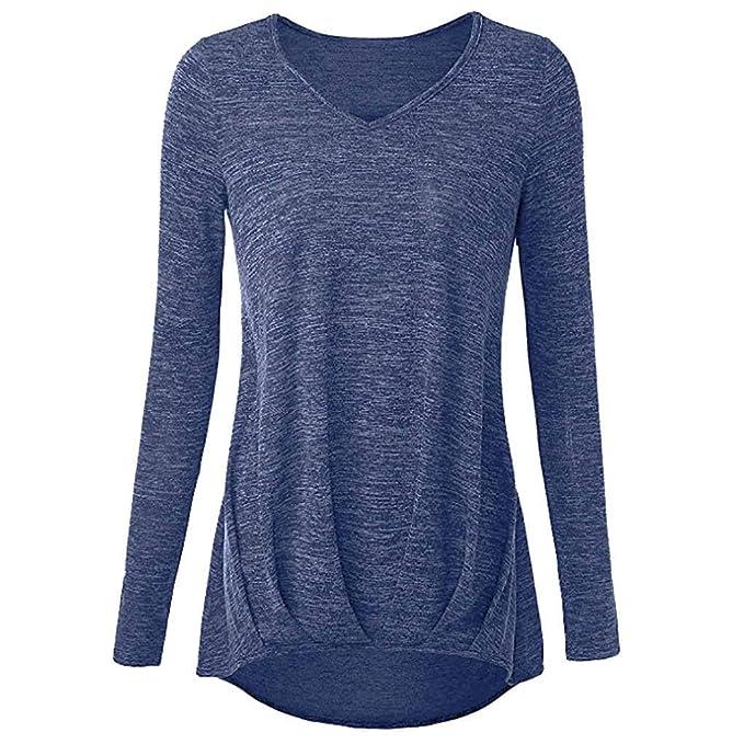 deefbe2976bb28 MOIKA Felpa da Donna T-Shirt Top con Scollo Av Top Casual Top con Maniche  Lunghe Tops Pullover: Amazon.it: Abbigliamento