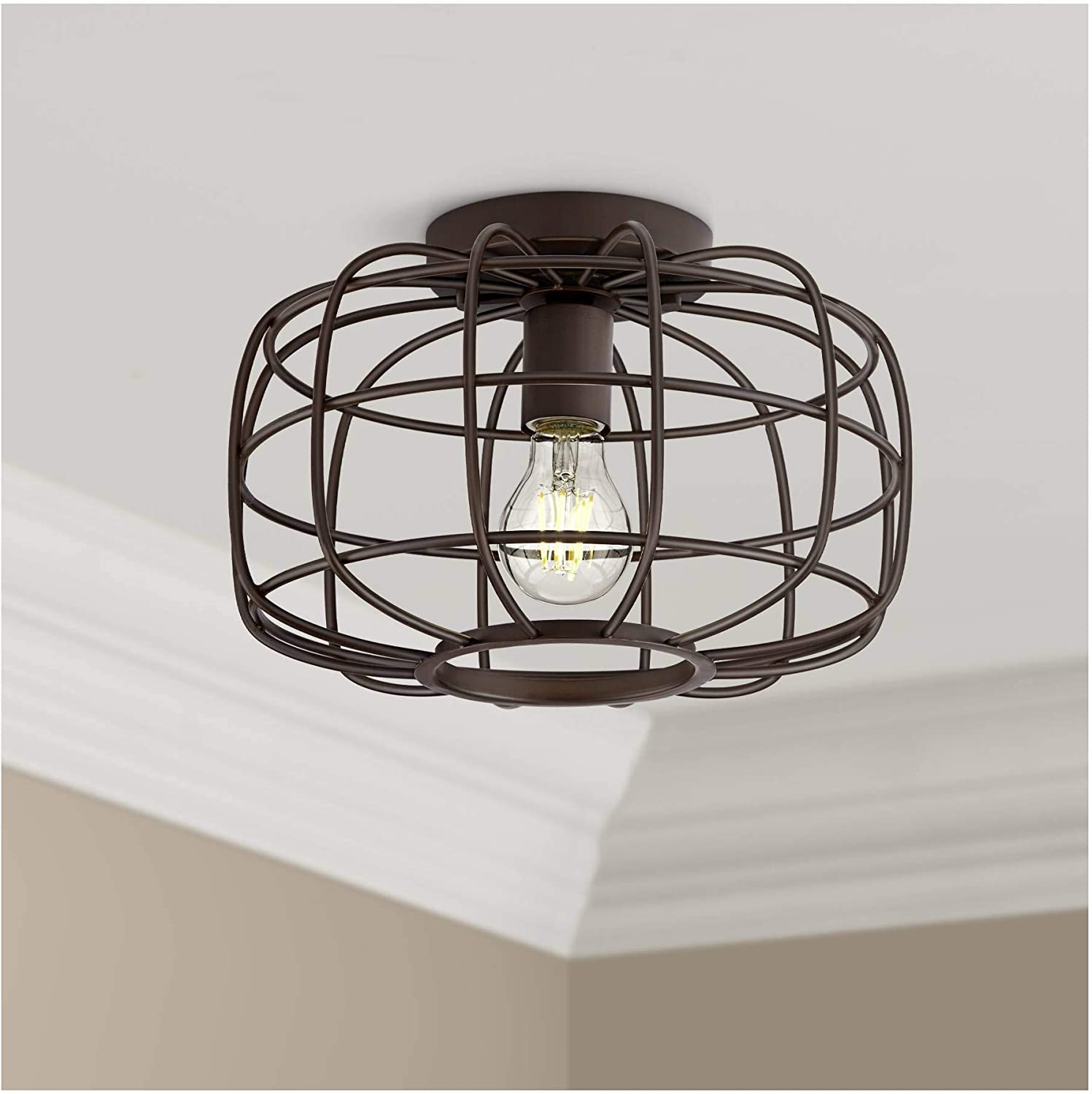 Epstein Farmhouse Rustic Industrial Close to Ceiling Light Flush Mount Fixture Oil Rubbed Bronze 12