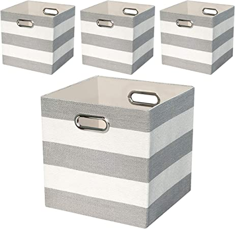 Cajas de Almacenaje,Cestas de Organizador,Cestos para la Colada Plegables,Cestas de Tela para Organizadoras el Dormitorio, Oficina, Armario, Juguetes, Ropa - Rayas grises / Beige,conjunto de 4: Amazon.es: Hogar