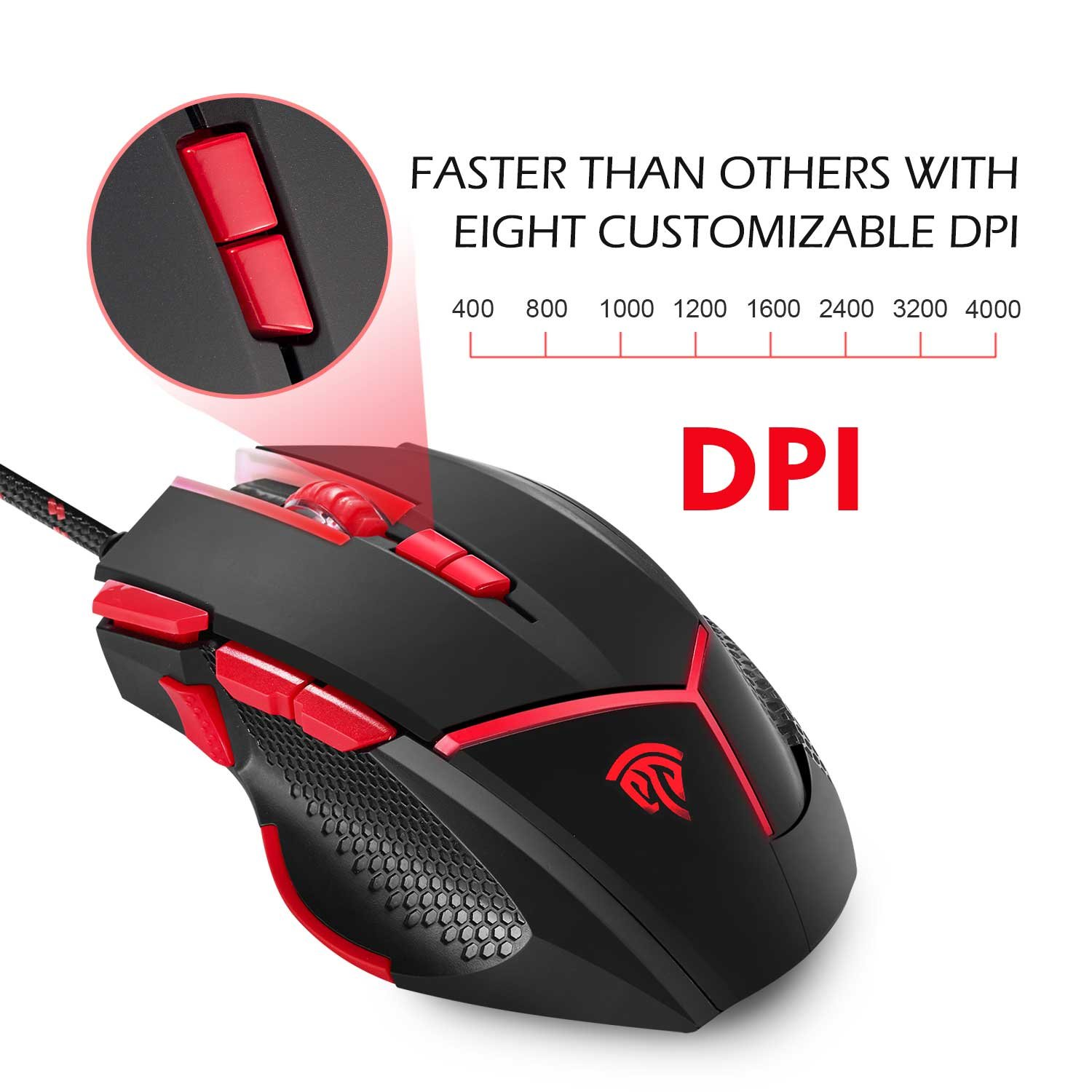 [Wired Gaming Mouse 4000 DPI 9 Buttons Programmable] EasySMX V18 Optical Mouse Weight Tuning Set Non-slip Design with LED Light Fire/Sniper Button for Laptop PC Computer Gamer (Black and Red)