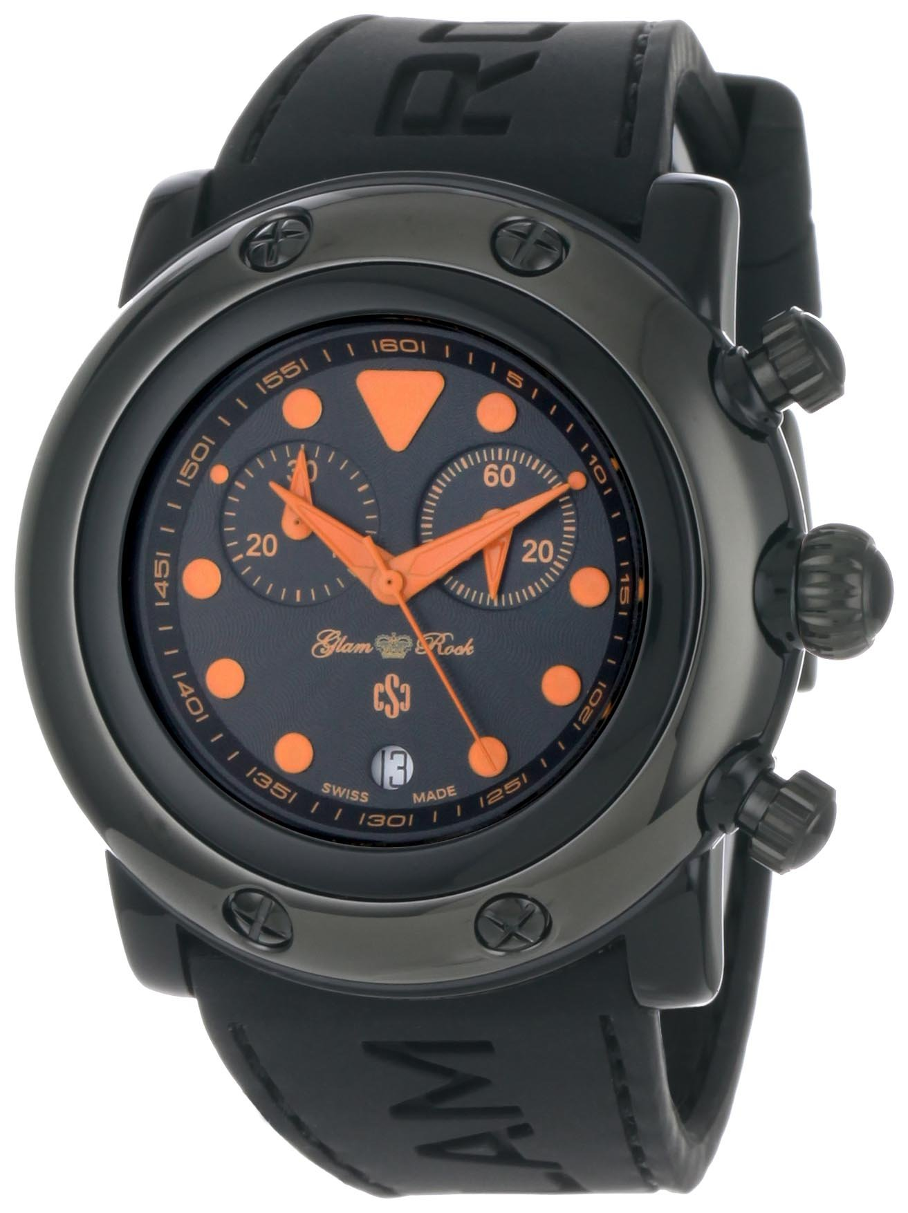 Glam Rock Women's GR61114 Miami Beach Chronograph Black Dial Black Silicone Watch by Glam Rock
