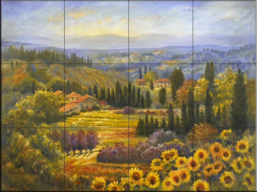Ceramic Tile Mural - Tuscan Countryside- by Rosanne Kaloustian - Kitchen backsplash/Bathroom shower