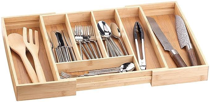Rosenstein & Söhne variable Cubiertos de bambú, 5 - 7 compartimentos, extensible 36 - 58,5 cm: Amazon.es: Hogar
