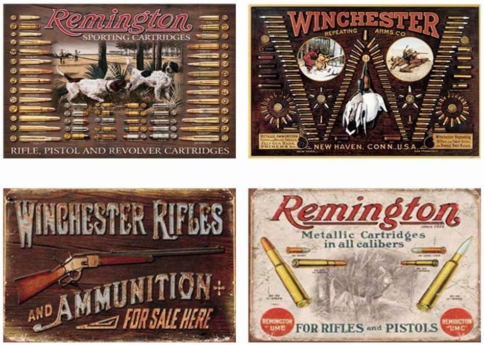 YOMIA 4 Pcs Gun Poster Metal Signs for Garage Man Cave Decor Wall Art Tin Signs Gun Gifts for Men 30x20cm