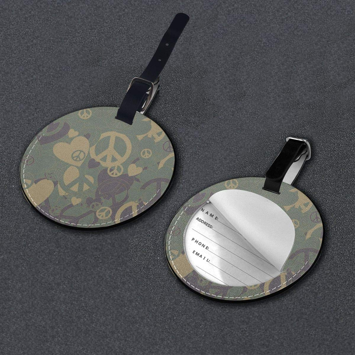 Round Luggage Tags American Flag Skull PU Leather Suitcase Labels Bag