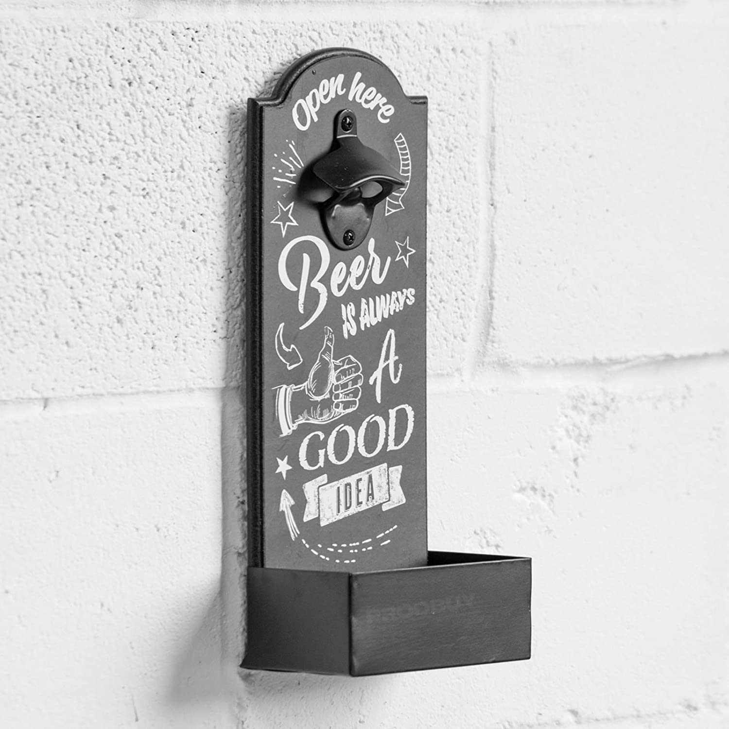 Large Wall Mounted Bottle Opener with Cap Catcher Designed to Wall Mounted Good Idea