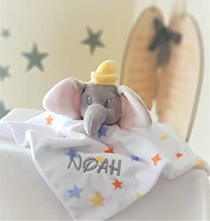 Personalised Disney Dumbo with stars Baby Comforter / Baby Blanket / Soother Blanket / New Baby Gift
