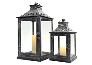 JHY Design Set of 2 Black with Grey Brush Decorative Lanterns, Metal Candle Lanterns for Indoor Outdoor, Events, Paritie and Weddings Vintage Style Hanging Lantern