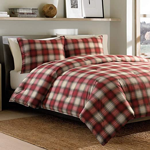 2 Piece Black Red Plaid Comforter Twin//Twin XL Set Cabin Themed Bedding