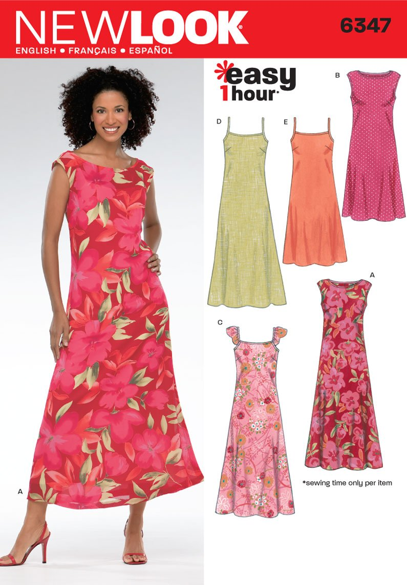 New Look Sewing Pattern 6347 Misses' Dresses, Size A (10-12-14-16-18-20-22) U06347A