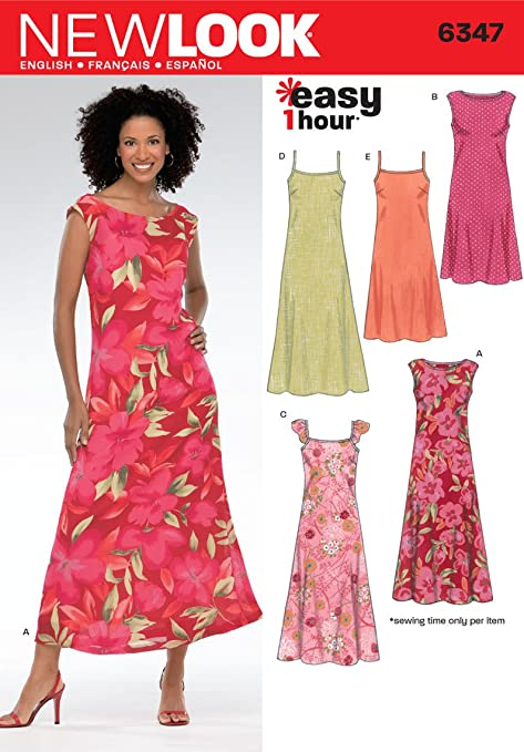New Look 6347 Size A Misses\' Dresses Sewing Pattern, Multi-Colour ...
