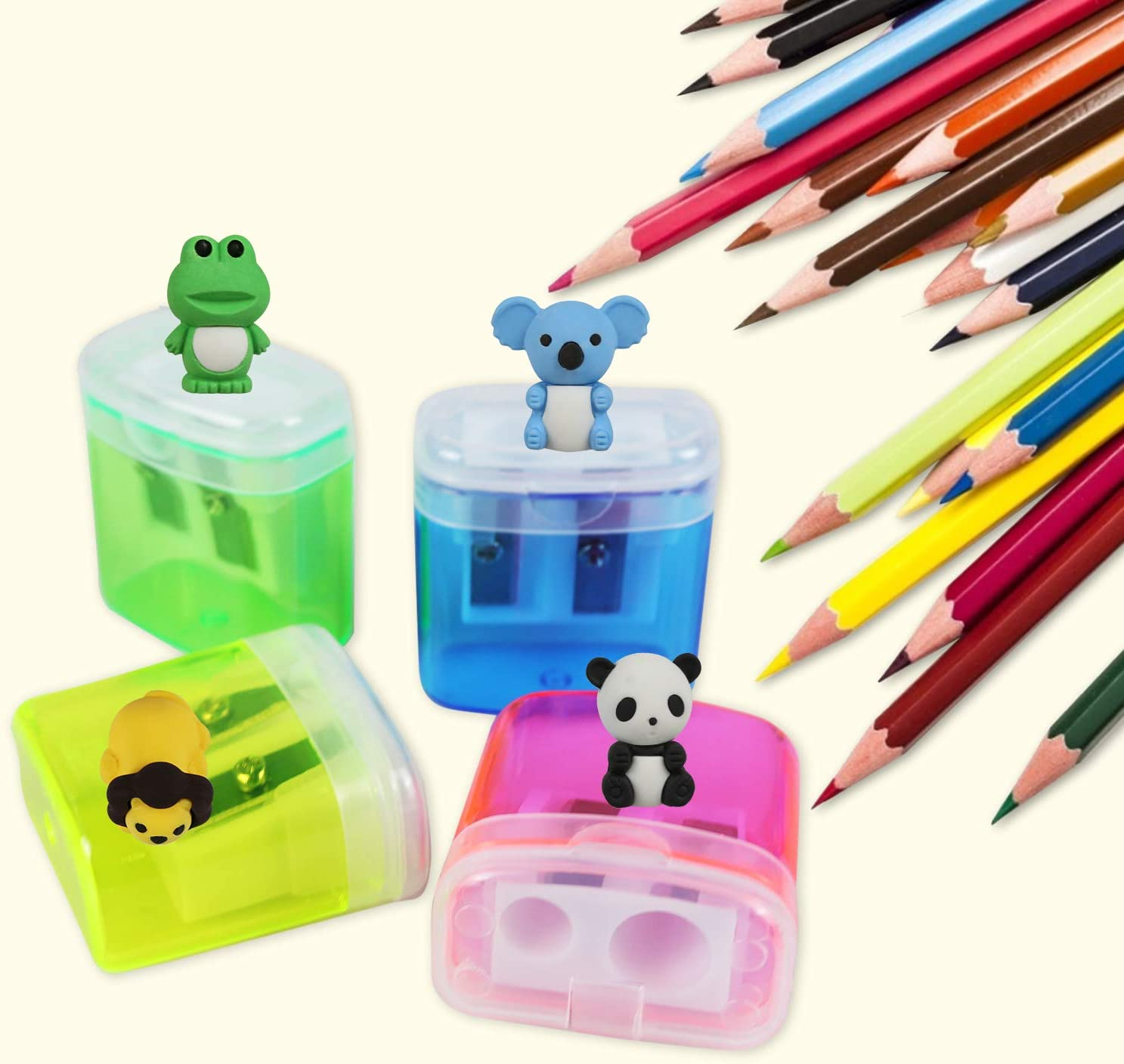 24 Pack Double Hole Pencil Sharpener 4 Colors Manual Pencil Sharpener with Lid and 4 PCS Animal Puzzle Eraser for Kids Gift School Office Home