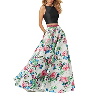 Monalia Womens 2 Piece Floral Prom Dresses 2018 Long Formal Gown Size 2 Black