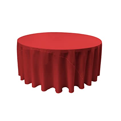 LA Linen Polyester Poplin Round Tablecloth, 108 Inch, Red