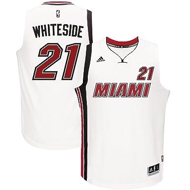 3eed0ba7 Outerstuff Hassan Whiteside Miami Heat #21 White Black Youth Swingman Home  Jersey (Large 14