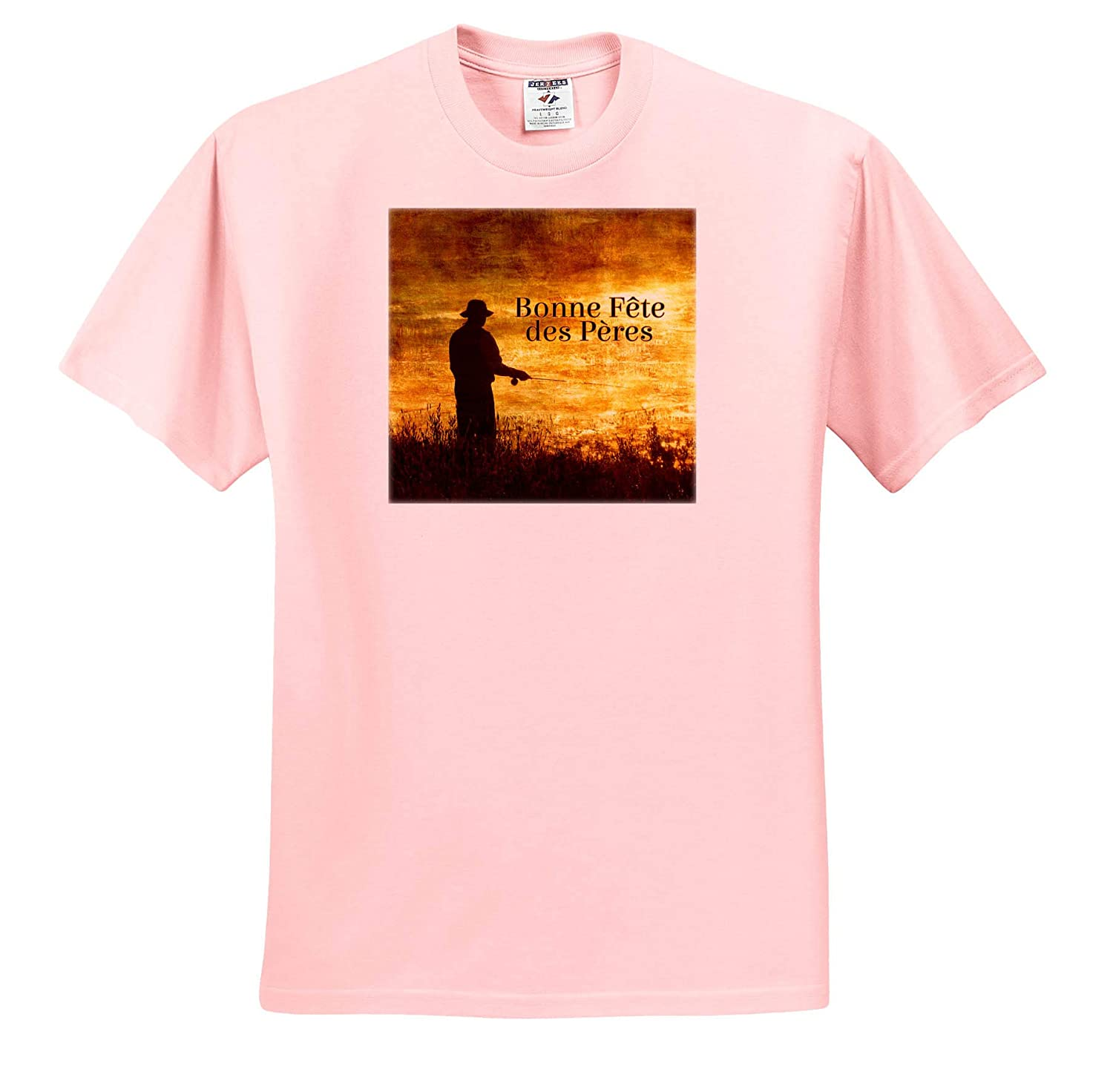 Adult T-Shirt XL French Language Fathers Day Fishermen at Sunrise ts/_319554 3dRose Doreen Erhardt Cultural