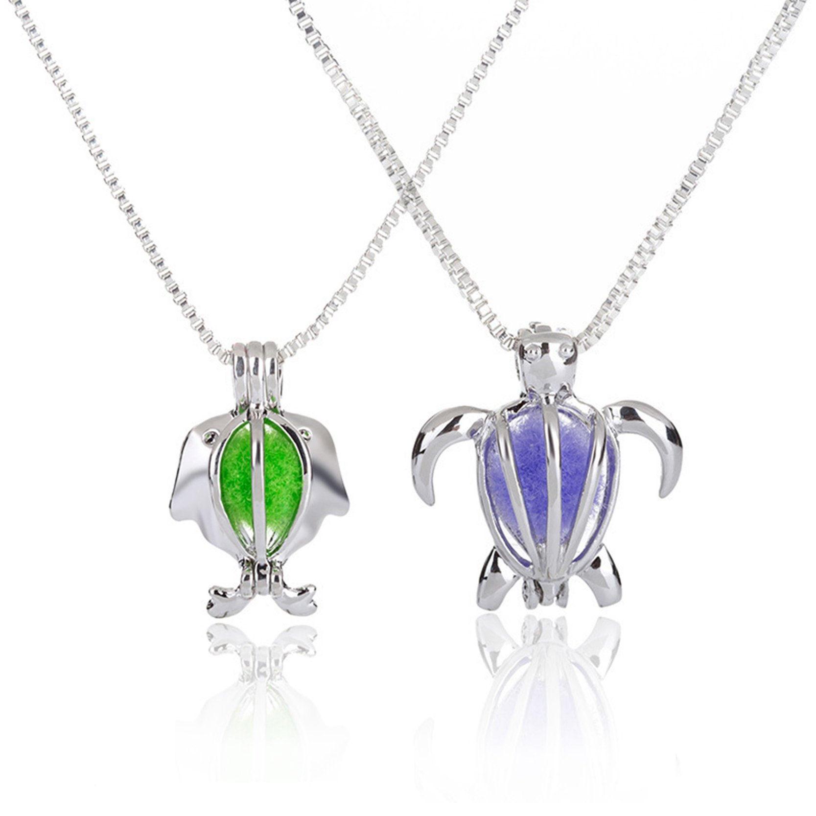 OBSEDE Silver Color Turtle Whale Essential Oil Diffuser Chain Necklace for Women Girls 2pcs