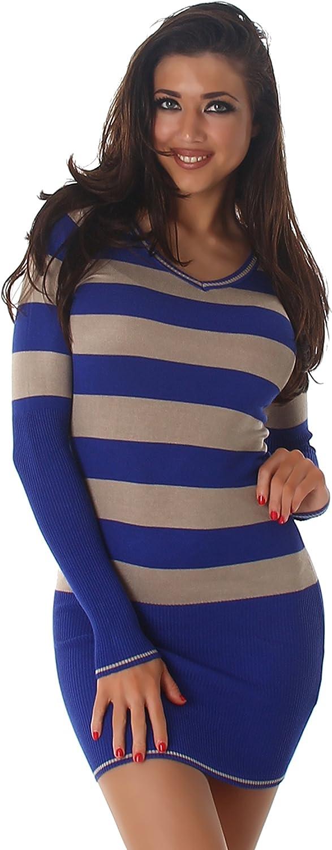 Jela London Damen Pullover Longpulli Streifen V-Ausschnitt Longsleeve Langarm-Shirt Strickkleid Stretch Slim-Fit 34 36 38