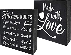 Agantree art Funny Kitchen Rules Inspirational Kitchen Room Box Talk Sign Wood Block Plaque Decor