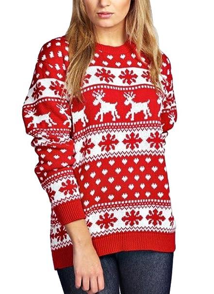 ... Copo De Nieve Pullover Jerseys Elegantes Unisex Cálido Suéteres Jersey  Navideño Xmas Manga Larga Cuello Redondo Suelto  Amazon.es  Ropa y  accesorios 6dd847c1f8e5