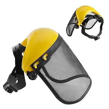 Casco de seguridad con Visera de Malla Metal Casco Visor Plásico Protección de Cara para Desbrozadora: Amazon.es: Jardín